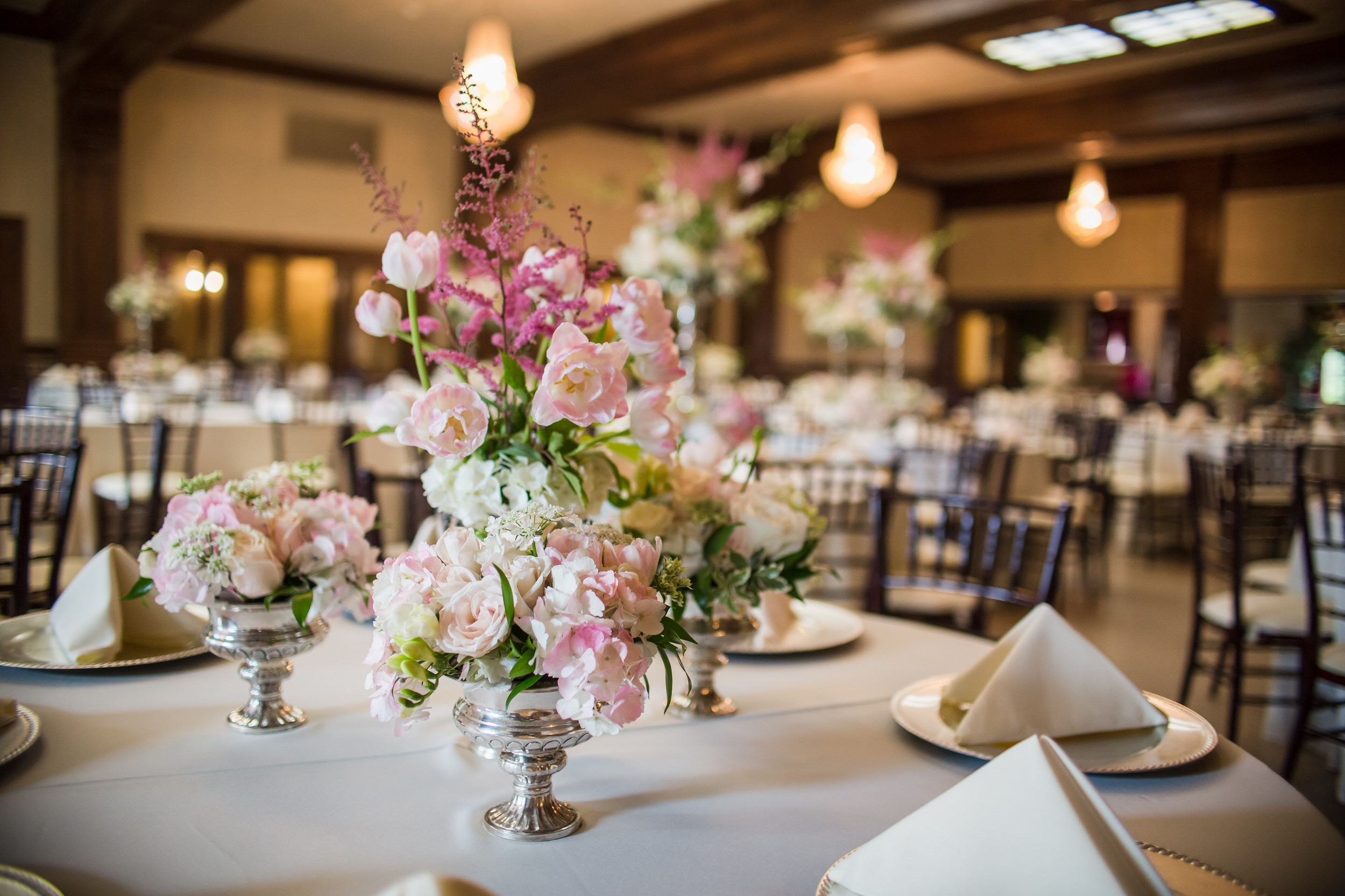 Wedding centerpieces in a reception hall