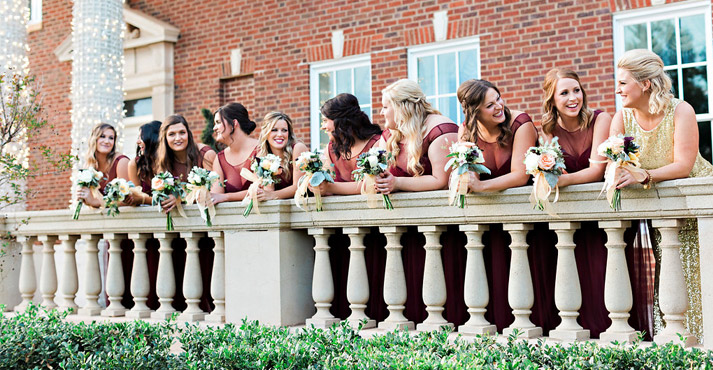 destination wedding venue with bridesmaids